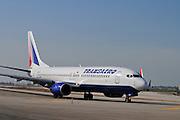 Israel, Ben-Gurion international Airport Transaero Boeing 737 landing