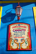 Historic tango bar sign, La Boca, Buenos Aires, Federal District, Argentina.