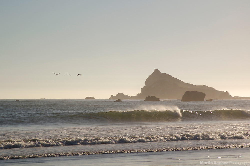 Pelicans fly past Castle Rock National Wildlife Refuge, near Crescent City, California