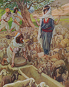 """Jacob and Rachel at the Well Gen. xxix. 9. """"And while he yet spake with them, Rachel came with her father's sheep: for she kept them."""" From the book ' The Old Testament : three hundred and ninety-six compositions illustrating the Old Testament ' Part I by J. James Tissot Published by M. de Brunoff in Paris, London and New York in 1904"""