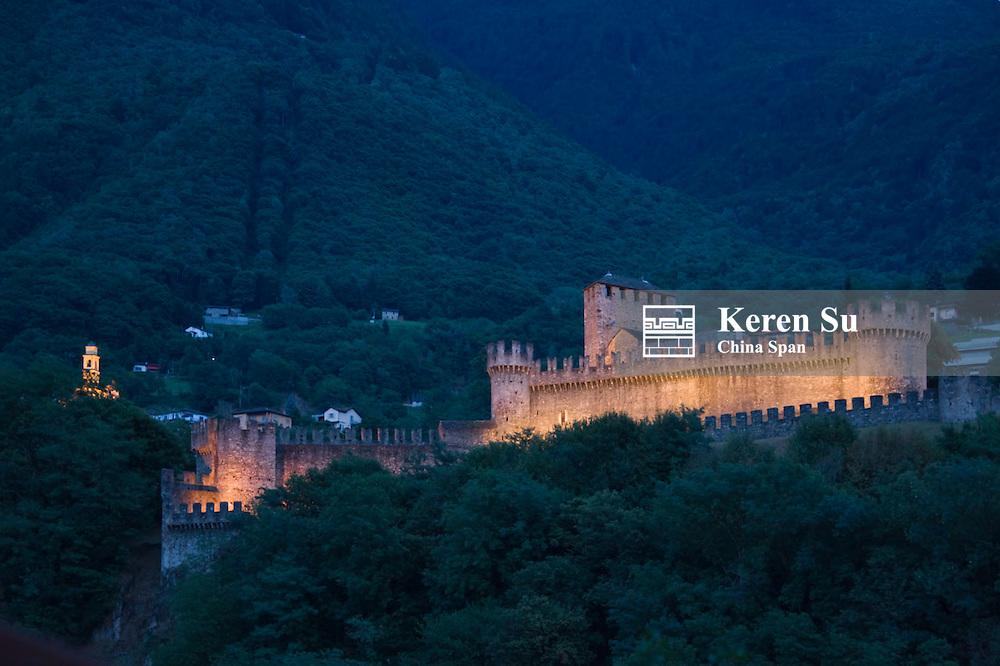 Night view of Montebello Castle (UNESCO World Heritage site), Bellinzona, Switzerland