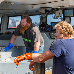 Captain Richard Smith ('Bad Behavior') and dock worker Gary Emerson (left) on the wharf at Great Wass Lobster in Beals, Maine.