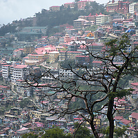 View of the city of Shimla, the capital of the state of Himachal Pradesh, built on top of the peaks of the Indian Lower Himalayas.