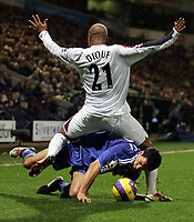 Photo: Paul Thomas.<br /> Bolton Wanderers v Chelsea. The Barclays Premiership. 29/11/2006.<br /> <br /> Michael Bllack (Blue) of Chelsea tries to get through El Hadji Diouf of Bolton.