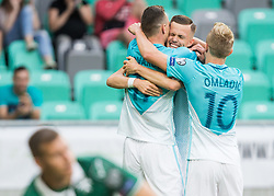 Josip Ilicic of Slovenia, Milivoje Novakovic of Slovenia and Nik Omladic of Slovenia celebrate after scoring second goal during football match between National teams of Slovenia and Malta in Round #6 of FIFA World Cup Russia 2018 qualifications in Group F, on June 10, 2017 in SRC Stozice, Ljubljana, Slovenia. Photo by Vid Ponikvar / Sportida