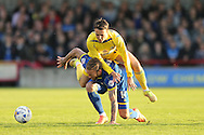 Sean McConville of Accrington Stanley collides into Sean Rigg of AFC Wimbledon. Skybet football league two play off semi final, 1st leg match, AFC Wimbledon v Accrington Stanley at the Cherry Red Records Stadium in Kingston upon Thames, Surrey on Saturday 14th May 2016.<br /> pic by John Patrick Fletcher, Andrew Orchard sports photography.