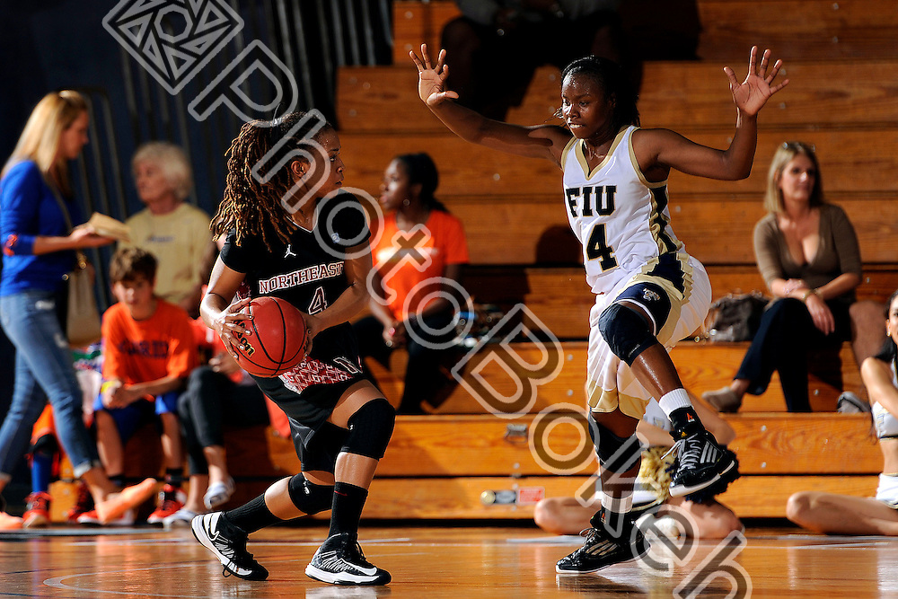 2012 December 29 - Northeastern guard Alece Mark (4) and FIU guard Kamika Idom (14). .Florida International University defeated Northeastern, 66-56, at US Century Bank Arena, Miami, Florida. (Photo by: www.photobokeh.com / Alex J. Hernandez) This image is copyright PhotoBokeh.com and may not be reproduced or retransmitted without express written consent of PhotoBokeh.com. ©2012 PhotoBokeh.com - All Rights Reserved