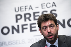 November 20, 2018 - Brussels, BELGIUM - ECA Chairman Andrea Agnelli pictured during a press conference of the Union of European Football Associations UEFA, Tuesday 20 November 2018 in Brussels. Earlier Tuesday, there was a meeting with the European Commissioner for Education, Culture, Youth and Sports. BELGA PHOTO LAURIE DIEFFEMBACQ (Credit Image: © Laurie Dieffembacq/Belga via ZUMA Press)