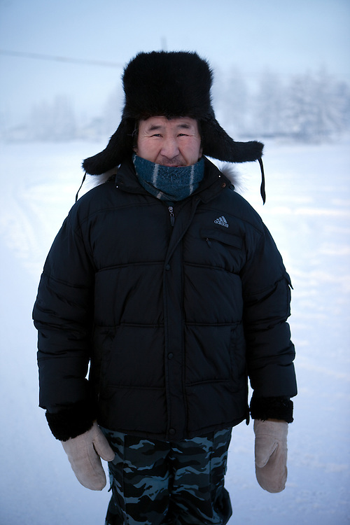 The Pole of Cold. Portrait of an inhabitant at the Oymyakon village. The area is extremely cold during the winter. Two towns by the highway, Tomtor and Oymyakon, both claim the coldest inhabited place on earth (often referred to as -71.2°C, but might be -67.7°C) outside of Antarctica. The average temperature in Oymyakon in January is -42°C (daily maximum) and -50°C (daily minimum). The images had been made during an outside temperature in between -50°C up to -55°C. Oymyakon, Oimjakon, Yakutia, Jakutien, Russian Federation, Russia, RUS, 20.01.2010