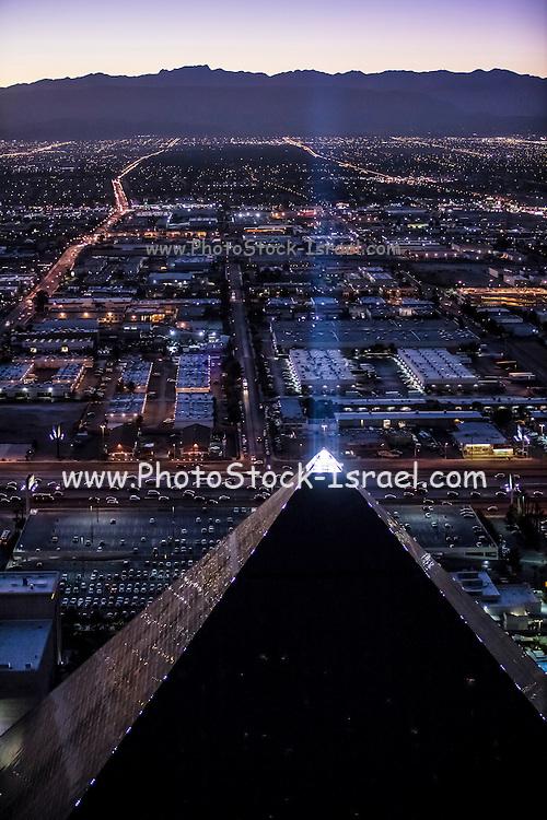 Aerial view of Luxor Hotel the Strip, Las Vegas, Nevada, USA