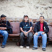 Hugo Streeter, Hugo Collado and Juan Olguin Cabezaz from a fog collecting co-operative in Chanaral, northern Chile.