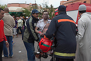 April 28 2011. Morocco, Marrakesh. Terrorist attack in Jama el Fnaa square. The blast ripped through a cafe overlooking Marrakesh's Jamaa el-Fnaa square, a spot often packed with foreign tourists.