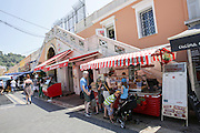food vendors in a street market in the historic city centre, Nice, France