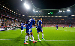 19.05.2012, Allianz Arena, Muenchen, GER, UEFA CL, Finale, FC Bayern Muenchen (GER) vs FC Chelsea (ENG), im Bild Chelsea's Didier Drogba celebrates scoring the equalising 1-1 goal to secure extra-time against FC Bayern Munchen with team-mates during the Final Match of the UEFA Championsleague between FC Bayern Munich (GER) vs Chelsea FC (ENG) at the Allianz Arena, Munich, Germany on 2012/05/19. EXPA Pictures © 2012, PhotoCredit: EXPA/ Propagandaphoto/ Vegard Grott..***** ATTENTION - OUT OF ENG, GBR, UK *****