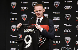 English international soccer player Wayne Rooney poses during the media unveiling at the Newseum on July 2, 2018 in Washington, DC.
