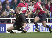 Reading, Berkshire, UK., 16th March 2002, Zurich Premiership Rugby, Madejski Stadium, England, [Mandatory Credit: Peter Spurrier/Intersport Images],<br /> <br /> Zurich Premiership-Madejski Stadium <br /> London Irish v Bristol<br /> Paul Gustard touch's down for a  London Irish second half try.