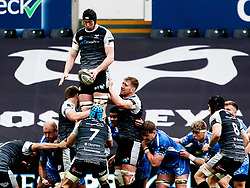Adam Beard of Ospreys claims the lineout<br /> <br /> Photographer Simon King/Replay Images<br /> <br /> Guinness PRO14 Round 18 - Ospreys v Dragons - Saturday 23rd March 2019 - Liberty Stadium - Swansea<br /> <br /> World Copyright © Replay Images . All rights reserved. info@replayimages.co.uk - http://replayimages.co.uk