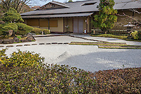 Genshinan Teahouse at Edpogawa Gyosen Gardem - A wealthy landowner, Genji Tanaka donated the space for Edogawa Gyosen Garden to the city of Tokyo City, Edogawa ward in 1950.  They created Gyosen Park as we see it today. Its Heisei Garden was created in 1989, with a pond side tea house Genshinan which can be rented out for tea ceremony and special occasions. A stone pathway encircles the pond in the Heisei Garden, passing among craggy rocks that one has to climb over.  In flatter terrain, behind Genshinan Teahouse, there is a fine large dry karesansui garden, rarely visited by park goers.