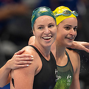 TOKYO, JAPAN - JULY 31:   Kaylee McKeown of Australia  winning gold in the 200m Backstroke for women is congratulated by  Emily Seebohm of Australia who won the bronze during the Swimming Finals at the Tokyo Aquatic Centre at the Tokyo 2020 Summer Olympic Games on July 31, 2021 in Tokyo, Japan. (Photo by Tim Clayton/Corbis via Getty Images)