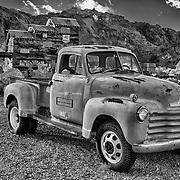1950s Chevrolet 3800 Truck At Sunset - Eldorado Canyon - Nelson NV - HDR -  Black & White