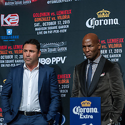"""NEW YORK, NY - OCT 16 Golden Boy Promotions President Oscar de la Hoya and Bernard """"Alien"""" Hopkins attend Golovkin vs Lemieux official weigh in for their bout saturday at Madison Square Garden on 16 October, 2015 in New York, NY USA. Byline, credit, TV usage, web usage or linkback must read SILVEXPHOTO.COM. Failure to byline correctly will incur double the agreed fee. Tel: +1 714 504 6870."""