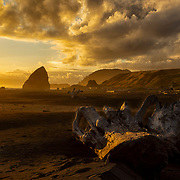 Sunset on Myers Beach, Oregon, with a large driftwood stump in the foreground and sea stacks in the background
