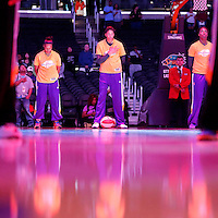 19 June 2014: Los Angeles Sparks forward/center Candace Parker (3) is seen during the national anthem prior to the Los Angeles Sparks 87-77 victory over the Tulsa Shock, at the Staples Center, Los Angeles, California, USA.