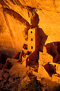 Evening light on Square Tower House Ruins, Mesa Verde National Park, Colorado USA
