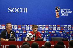June 16, 2018 - Sochi, Russie - SOCHI, RUSSIA - JUNE 16 : Stefan Van Loock press officer of Belgian Team and Adnan Januzaj midfielder of Belgium pictured during a press conference of the National Soccer Team of Belgium prior to the FIFA 2018 World Cup Russia group G phase match between Belgium and Panama at the Fisht Stadium on June 16, 2018 in Sochi, Russia, 16/06/2018  (Credit Image: © Panoramic via ZUMA Press)
