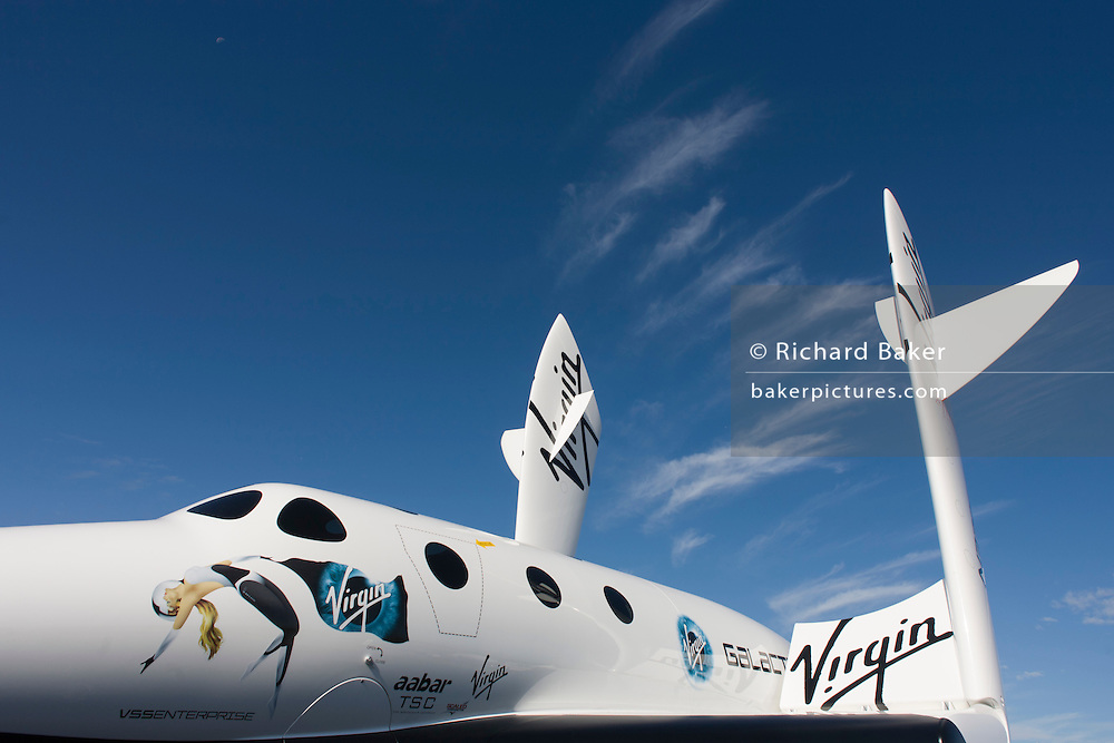 Model of Virgin Galactic's space tourism vehicle, SpaceShipTwo (SS2) at the Farnborough air show.
