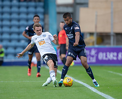 Ayr United's Alan Forest an dDundee's Adil Nabi. half time : Dundee 0 v 0 Ayr United, Scottish League Cup Second Round, played 18/8/2018 at the Kilmac Stadium at Dens Park, Scotland.