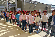 Japan, Tokyo, a group of elementary school children