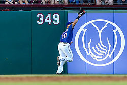 May 8, 2018 - Arlington, TX, U.S. - ARLINGTON, TX - MAY 08: Texas Rangers right fielder Nomar Mazara (30) catches a pop fly during the game between the Texas Rangers and the Detroit Tigers on May 08, 2018 at Globe Life Park in Arlington, Texas. Detroit defeats Texas 7-4. (Photo by Matthew Pearce/Icon Sportswire) (Credit Image: © Matthew Pearce/Icon SMI via ZUMA Press)
