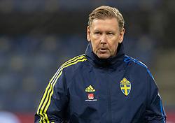 Vikarierende træner Peter Wettergren (Sverige) under venskabskampen mellem Danmark og Sverige den 11. november 2020 på Brøndby Stadion (Foto: Claus Birch).