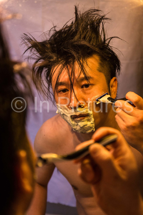Masatsugu Okutani, 41 shaves at home in Paris before heading off to the offices of the Japanese food company Ajinomoto for whom he is the Marketing manager responsible for the Cos sales throughout Europe.