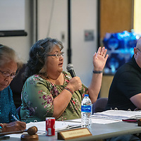 District I County Commissioner Carol Bowman-Muskett welcomes members from the community to the McKinley County Board of Commissioners workshop regarding road maitenance Tuesday afternoon at Calvin Hall Auditorium on June 12, 2018 at the UNM-Gallup campus.