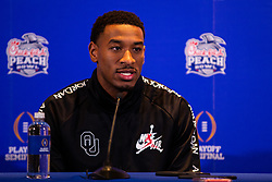 The Oklahoma Sooners wide receiver Nick Basquine answers questions from the media at the Omni Hotel on Monday, Dec. 23, 2019, in Atlanta. LSU will face Oklahoma in the 2019 College Football Playoff Semifinal at the Chick-fil-A Peach Bowl. (Jason Parkhurst via Abell Images for the Chick-fil-A Peach Bowl)