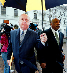25 February 2013. New Orleans, Louisiana,  USA. .Aaron Broussard, former Jefferson parish president arrives for sentencing at the Hale Boggs Federal Courthouse with his lawyer Robert Jenkins. Broussard was sentenced to 46 months in prison on theft and conspiracy charges..Photo; Charlie Varley.