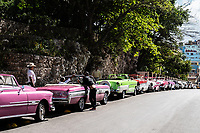 Classic Cars line the streets of Havana, Cuba 2020 from Santiago to Havana, and in between.  Santiago, Baracoa, Guantanamo, Holguin, Las Tunas, Camaguey, Santi Spiritus, Trinidad, Santa Clara, Cienfuegos, Matanzas, Havana