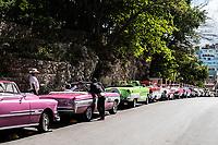 Classic Cars line the streets of Havana, Cuba 2020 from Santiago to Havana, and in between.  Santiago, Baracoa, Guantanamo, Holguin, Las Tunas, Camaguey, Santi Spiritus, Trinidad, Santa Clara, Cienfuegos, Matanzas, Havana