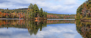 Lincoln Pond on a beautiful autumn day in the mountains of upstate New York near the Vermont border, USA