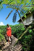 Girl explores Strawberry Hill Gardens - Jamaica