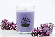 Lilac Scented Bridge Nine Candle Company Soy Candle with 2 lilac sprigs