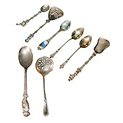 Silver teaspoons On white Background