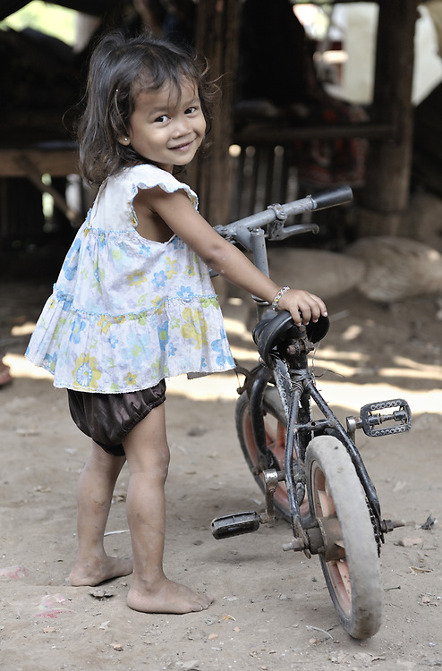 A girl in the Chamroen neighborhood of Phnom Penh, Cambodia.