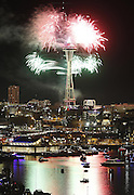 Fireworks explode from the Space Needle as the clock strikes midnight on New Years Eve in Seattle, Thursday, December 31, 2015.<br /> <br /> Sy Bean / The Seattle Times
