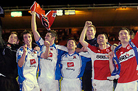 Photo: Jed Wee.<br /> Middlesbrough v Nuneaton Borough. The FA Cup. 17/01/2006.<br /> <br /> Nuneaton players celebrate with the fans.
