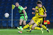 Forest Green Rovers Carl Winchester(7) shoots at goal during the The FA Cup 1st round match between Oxford United and Forest Green Rovers at the Kassam Stadium, Oxford, England on 10 November 2018.