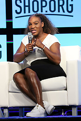 Serena Williams speaks at Digital Retail Conference Shop.Org at the American Express Stage, Sands Expo Center in Las Vegas, Nevada.