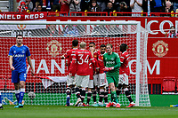 Football - 2021 / 2022 Pre-Season Friendly - Manchester United vs Everton - Old Trafford - Saturday 7th August 2021<br /> <br /> Manchester United players celebrate the first goal after an error by Everton keeper Jordan Pickford, at Old Trafford.<br /> <br /> COLORSPORT/ALAN MARTIN